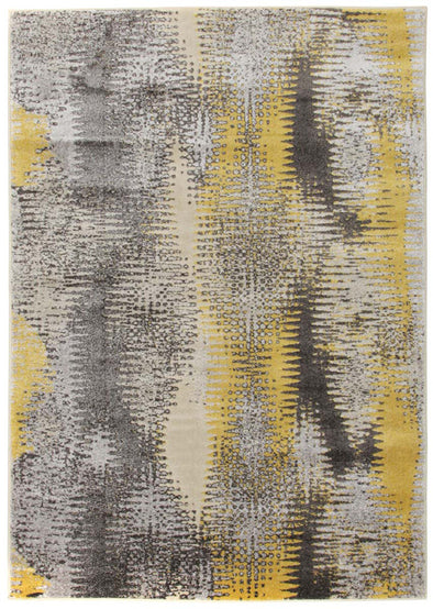 Hannah Matrix Rug Yellow Grey - Fantastic Rugs