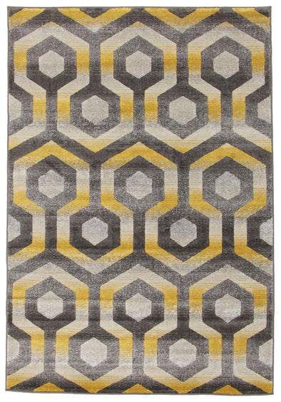 Irene Hive Modern Rug Yellow Grey - Fantastic Rugs