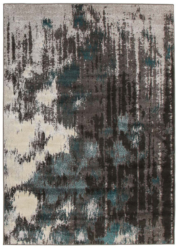 Capri Modern Rug Blue Charcoal Grey