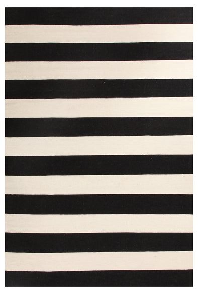 Flat Weave Stripe Black White Rug - Fantastic Rugs