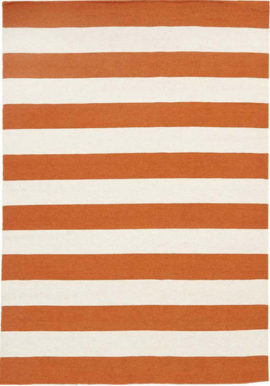 Flat Weave Stripe Orange White Rug - Fantastic Rugs