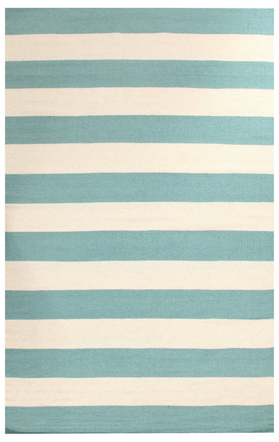 Flat Weave Stripe Light Blue White Rug - Fantastic Rugs