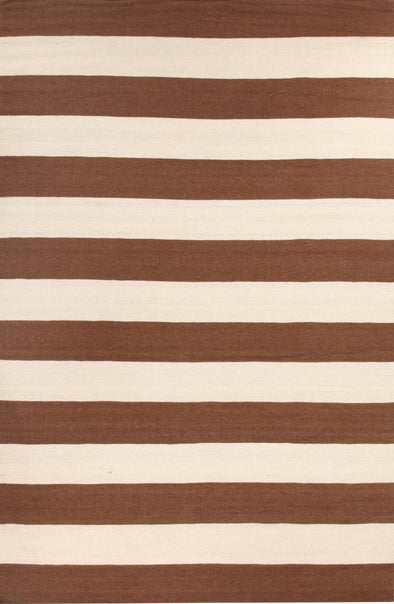 Flat Weave Stripe Light Brown White Rug - Fantastic Rugs