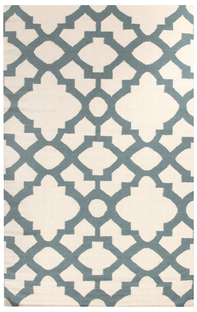 Flat Weave Trellis Design Light Blue White Rug - Fantastic Rugs