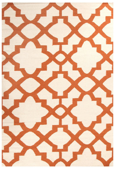 Flat Weave Trellis Design Orange White Rug - Fantastic Rugs
