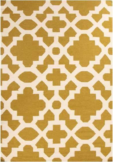 Flat Weave Trellis Design Green White Rug - Fantastic Rugs