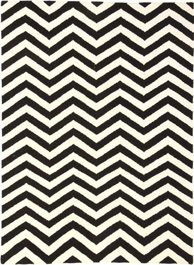 Flat Weave Chevron Design Rug Black White - Fantastic Rugs