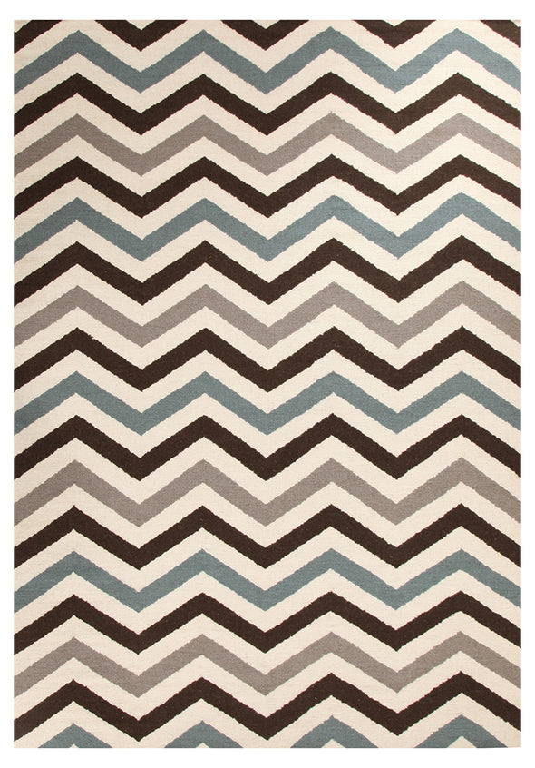 Flat Weave Chevron Design Rug Blue Brown - Fantastic Rugs