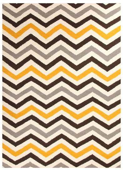 Flat Weave Design Rug Yellow Brown - Fantastic Rugs