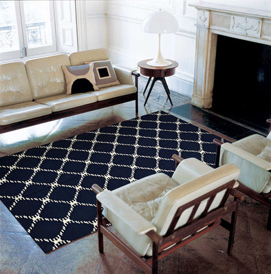 Flat Weave Stitch Design Rug Navy - Fantastic Rugs