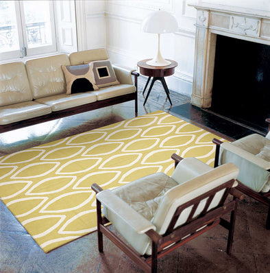 Flat Weave Oval Print Rug Yellow - Fantastic Rugs
