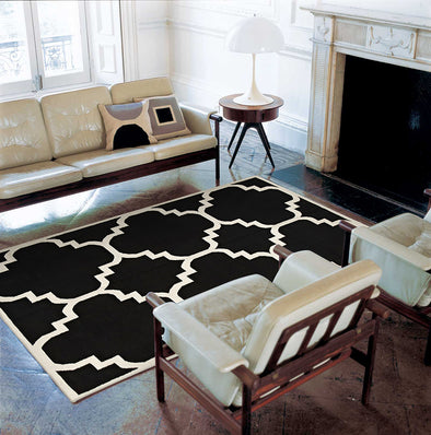 Flat Weave Large Moroccan Design Rug Black - Fantastic Rugs