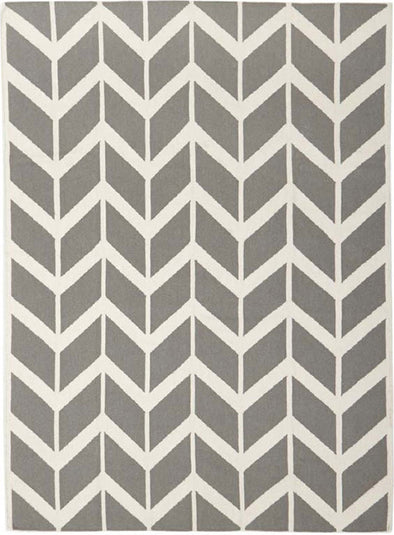 Chevron Flat Weave Rug Grey - Fantastic Rugs