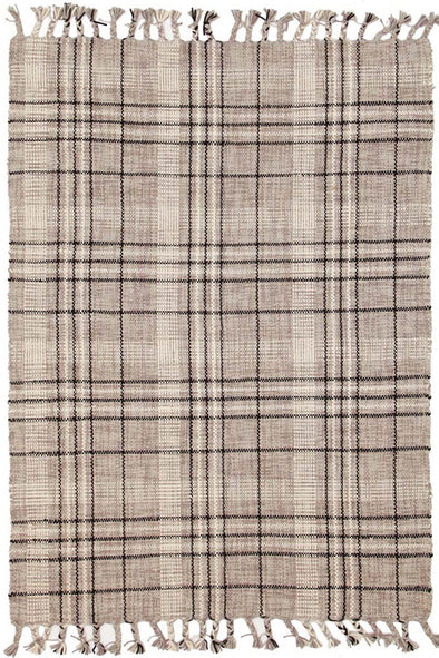 Striped Cotton Wool Flat woven Grey Rug - Fantastic Rugs