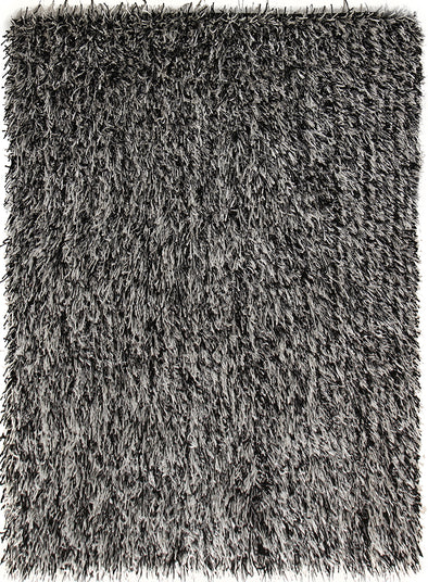 Metallic Thick, Thin Shag Rug Black, Off White - Fantastic Rugs