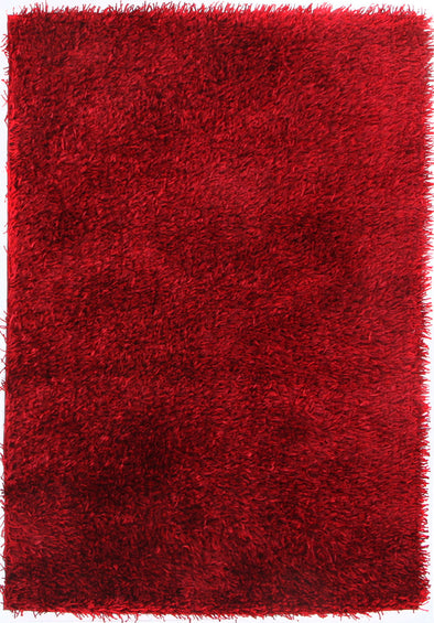 Metallic Thick, Thin Shag Rug Red - Fantastic Rugs
