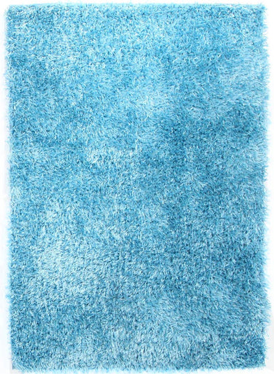 Metallic Thick, Thin Shag Rug Sky Blue