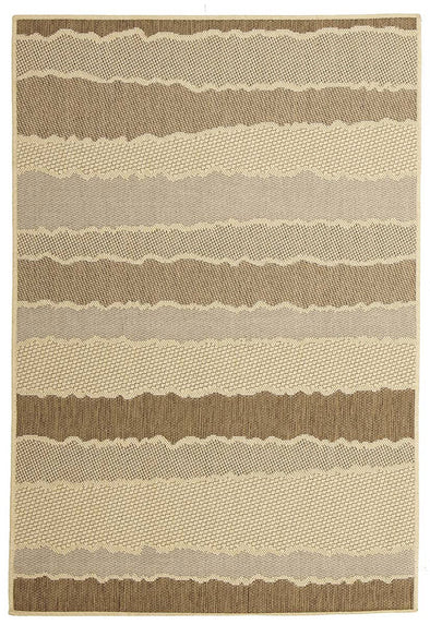 Indoor Outdoor Wave Rug Beige Brown - Fantastic Rugs