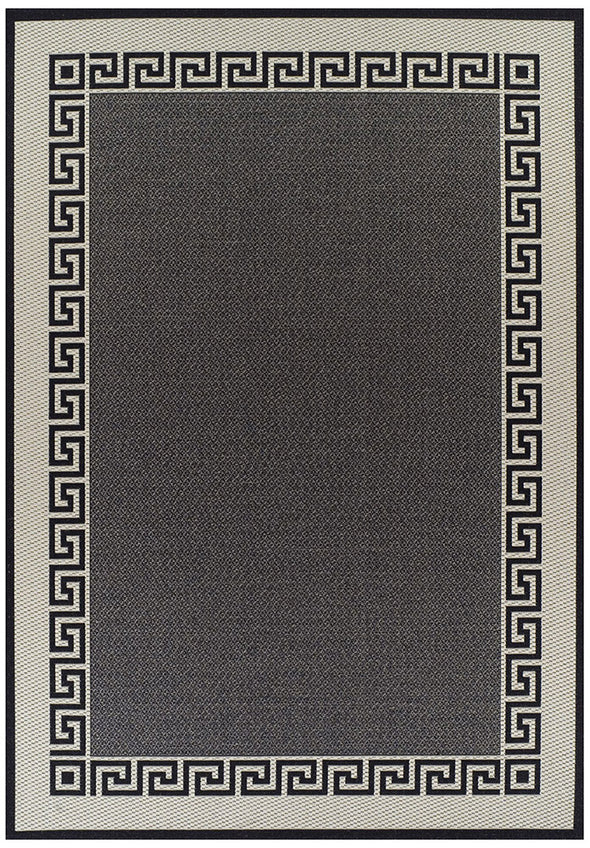Indoor Outdoor Key Design Rug Charcoal - Fantastic Rugs