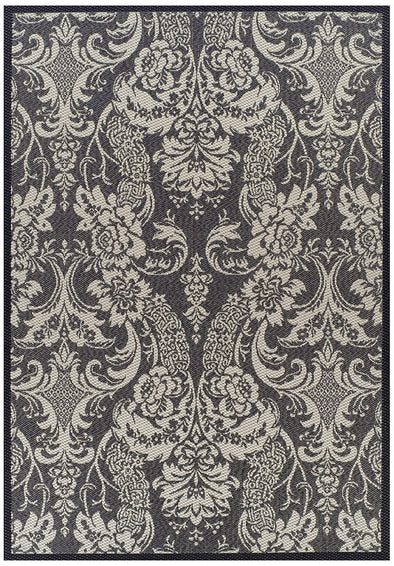 Indoor Outdoor Lace Design Rug Grey