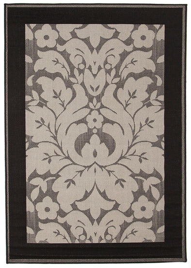 Indoor Outdoor Border Design Border Rug Grey