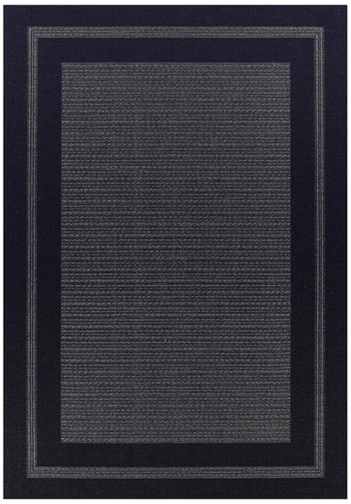 Indoor Outdoor Border Design Rug Black