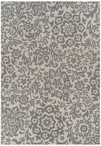 Indoor Outdoor Fine Damask Design Rug Cream