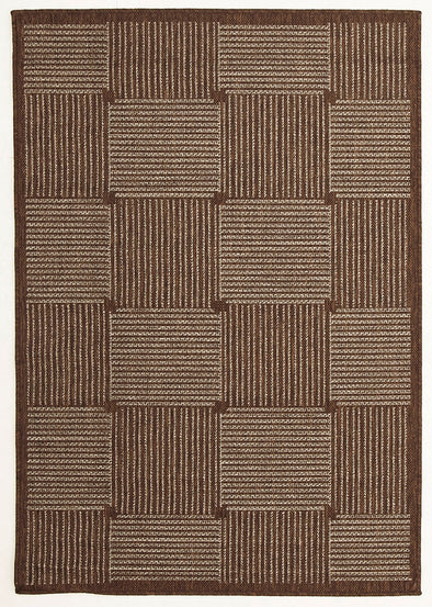 Indoor Outdoor Box Design Rug Brown