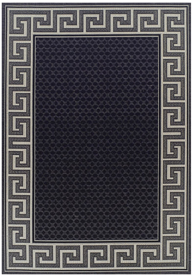 Indoor Outdoor Greek Key Design Rug Black
