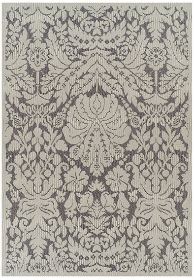 Indoor Outdoor Lace Damask Design Rug Grey
