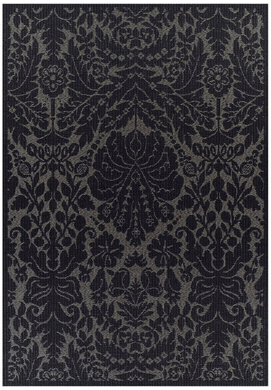 Indoor Outdoor Lace Damask Design Rug Black