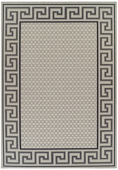 Indoor Outdoor Greek Key Design Rug Cream