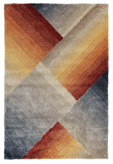 Haley Textured Rust Grey Multi Coloured Rug