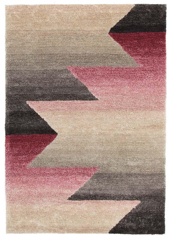 Penny Pink Grey Textured Multi Coloured Rug