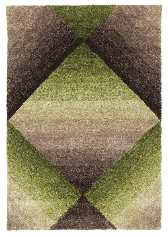 Maria Green Multi Coloured Textured Rug