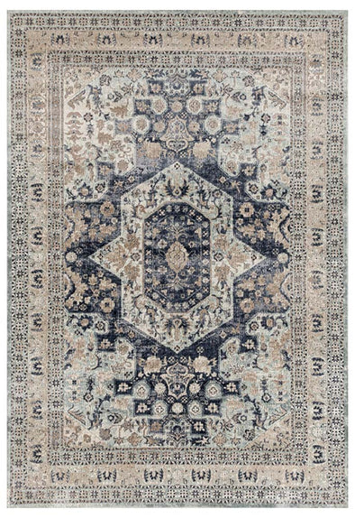Esquire Brushed Traditional Blue Rug - Fantastic Rugs