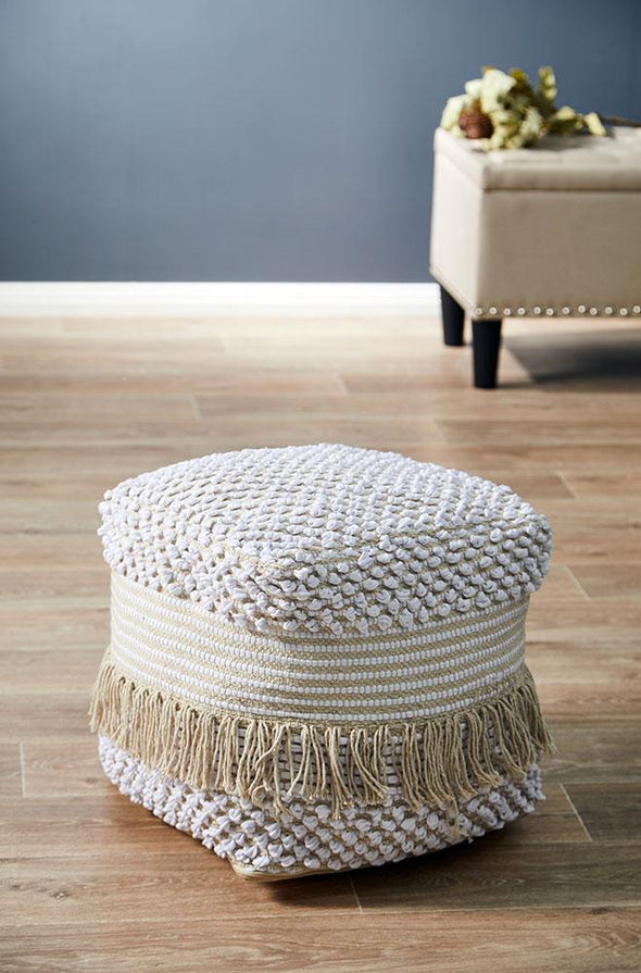 Rug Culture Home 503 White Ottoman