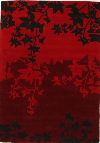 Designer Wool Rug Autumn Red Black