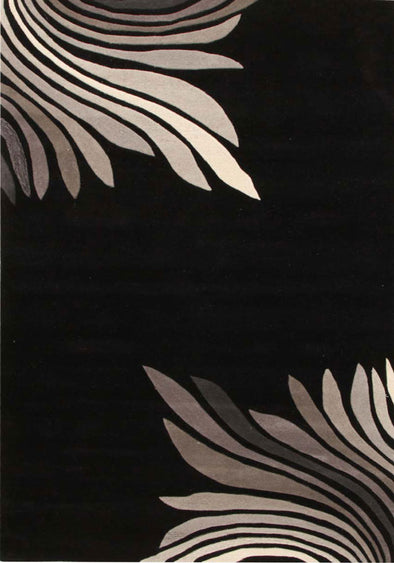 Designer Wool Rug Azura Black Grey - Fantastic Rugs