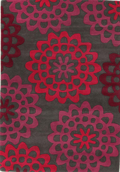 Designer Wool Rug Carmel Grey Purple Pink - Fantastic Rugs