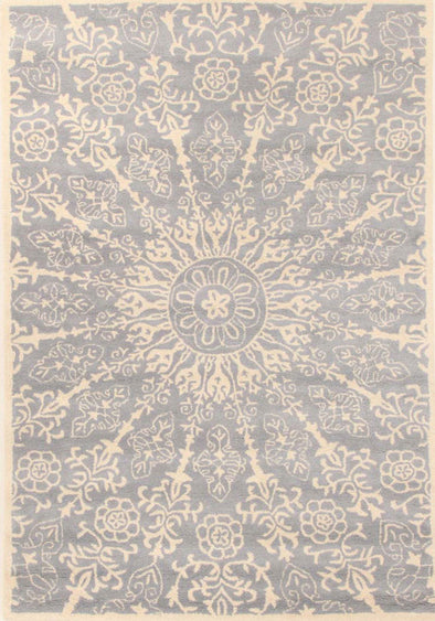 Designer Wool Rug Azura Blue Cream