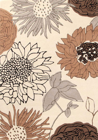 Designer Wool Rug Sunflower Cream Grey Brown - Fantastic Rugs