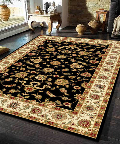 Classic Rug Black with Ivory Border - Fantastic Rugs