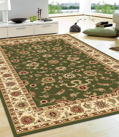 Classic Rug Green with Ivory Border - Fantastic Rugs