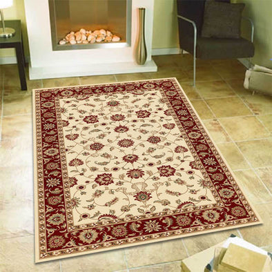 Classic Rug Ivory with Red Border - Fantastic Rugs