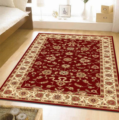 Classic Rug Red with Ivory Border - Fantastic Rugs