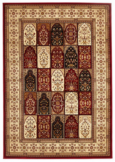 Traditional Panel Design Burgundy with Ivory - Fantastic Rugs