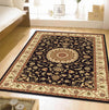 Medallion Rug Black with Ivory Border - Fantastic Rugs