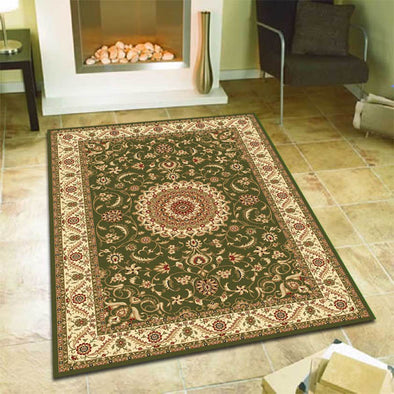 Medallion Rug Green with Ivory Border - Fantastic Rugs