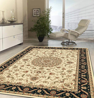 Medallion Rug Ivory with Black Border - Fantastic Rugs